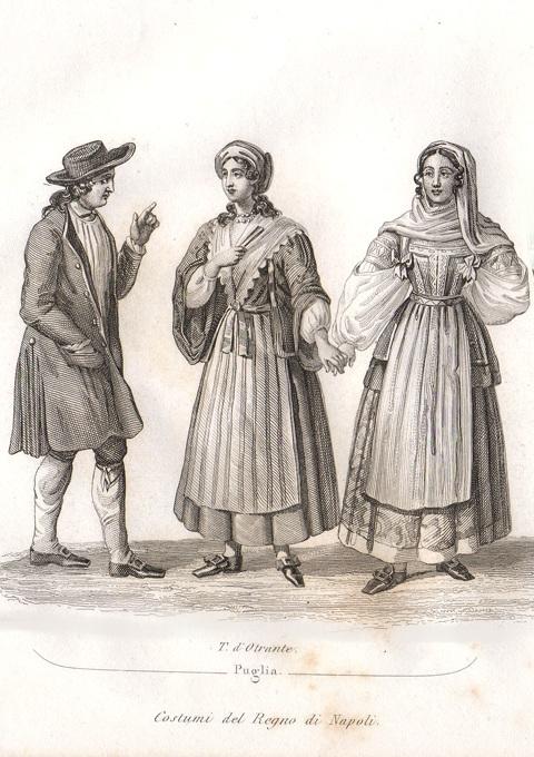 E. Rouarge,  Costumi di Puglia (Terra d'Otranto), incisione al bulino,1835
