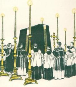 Assoluzione al tumulo. Ultima parte della Missa da requiem, secondo il rito tridentino (Disegno d'epoca)