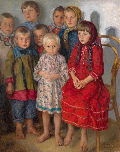 Nikolai Bogdanov Belsky (1868-1945): Il giorno delle ammissioni (Olio su tela)